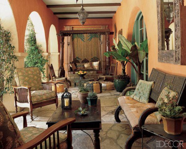 LookBook  Eclectic Outdoor Room  ELLE Decor  on the veranda  Home Decor Decor Outdoor rooms
