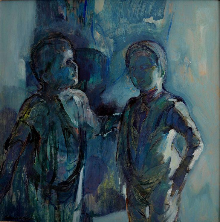 Sombras vivas II, óleo-tabla, 60x60 cm.
