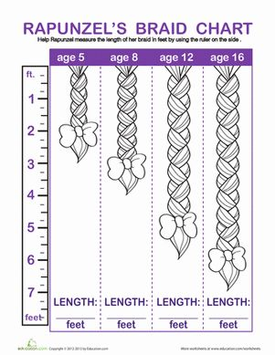 Kindergarten Measurement Fairy Tales Worksheets: Rapunzel Braid Measurement ... great for a math bulletin board on measurements