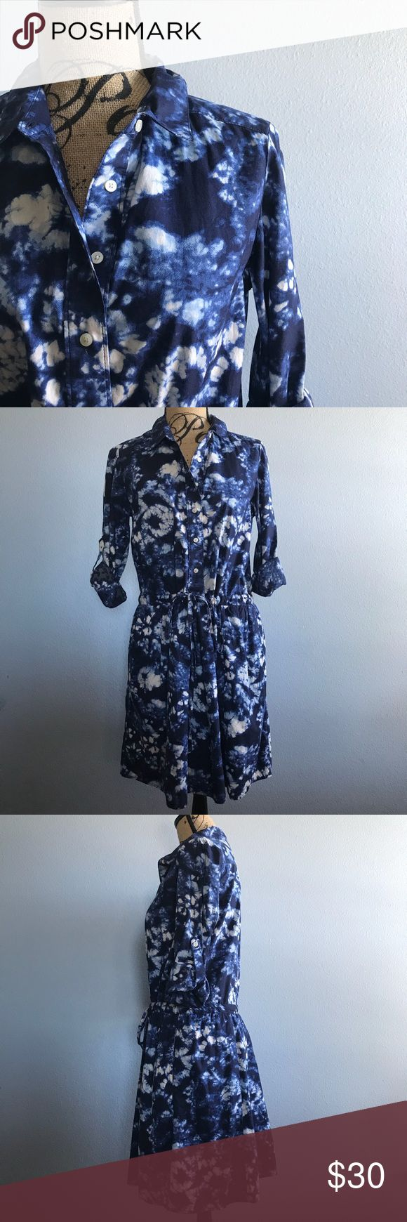 """GAP Tie-Dye T-shirt Dress GAP Tie-Dye T-shirt Dress Size Small, Blue and White, fully Lined Skirt, has 2 pockets on side of Skirt, Roll tab sleeves, Long Sleeve, Button Up, NWOT, Smoke Free Home  Measurements are approx  Length: 35"""" Sleeves rolled: 14"""" Waist: 34"""" Chest: 38"""" GAP Dresses Midi"""