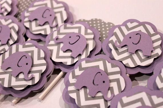 purple elephant and gray chevron stripe polka dot cupcake toppers baby