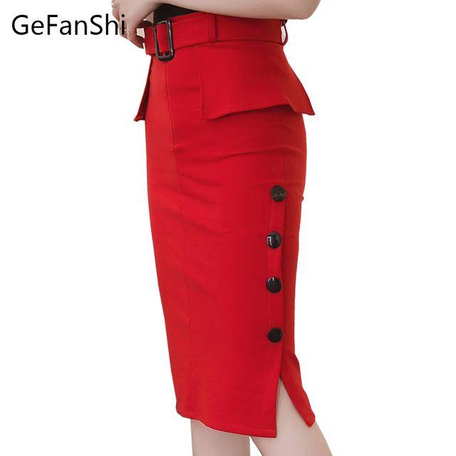 La moda de Nueva 2017 Otoño Invierno de la Alta Cintura Falda de Midi Bodycon Lápiz Faldas Rojo Negro Botones Abierto de Hendidura Elegante Para Mujer Faldas