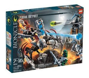LEGO BIONICLE® Piraka Outpost by LEGO. $44.00. Includes 2 mini Toa and 2 mini Piraka figures. Features missile launcher and zamor sphere launcher. All-new mini Toa and Piraka have cool masks & moving parts. From the Manufacturer                Capture the Piraka Outpost! The evil Piraka are prepared to defend Voya Nui from their outposts around the island. But don't worry -- Toa Inika Jaller and Toa Inika Kongu are on their way to take it back! They're riding a...
