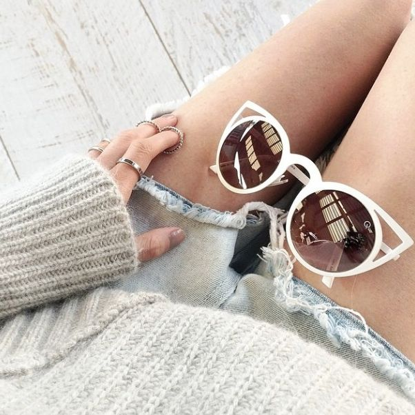 white cat-eye sunglasses #quay