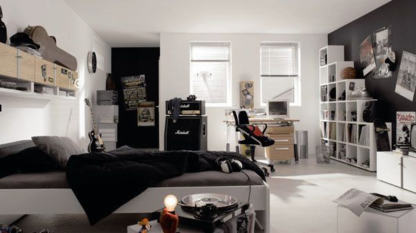 Black White guitar Screibtisch Chair poster bed lamp room young man teen design shelf curtain window idea