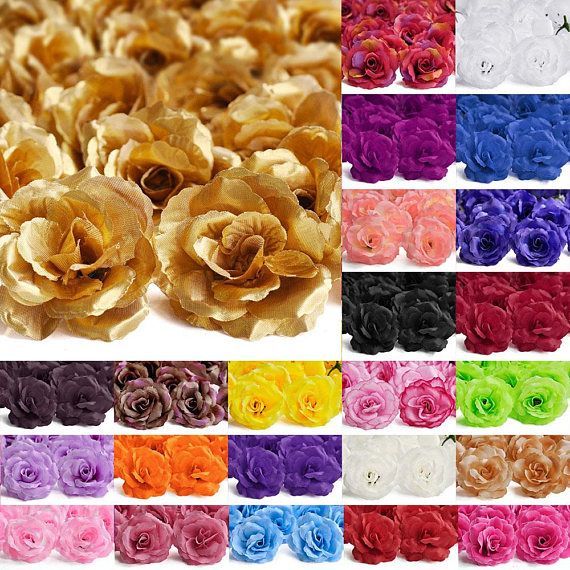 20pcs Artificial Flower Heads Big Rose Wedding Party Confetti Table Decor BW
