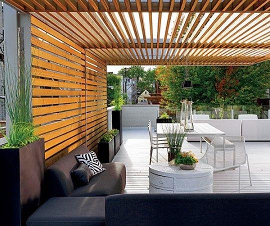 Outdoor Patio Or Pergola: Modern Outdoor Wooden Slat Deck, Love This Design.