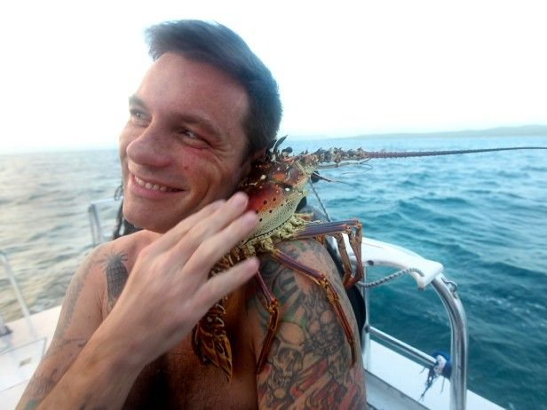 Fresh Catch Chef Hector Crespo shows Chuck how to go free diving to catch spiny lobsters, but Chuck gets a little too attached. Fresh Catch from CookingChannelTV.com