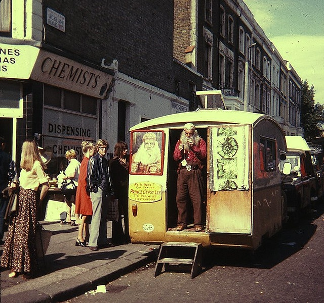 Prince Gypsy Lee in Acklam road W10, 1974.