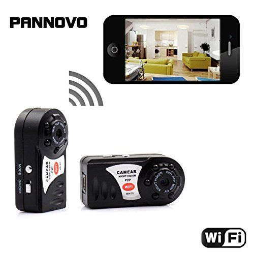Mini wireless wifi spy Camera , PANNOVO Wireless IP P2P hidden Video Camera With Infrared Night Vision Wireless Video recorder  1. This mini hidden camera is world's smallest camera,it fit for all kinds of portable tools,You can record both photos and video without anyone pay attention.2.Hidden Video Recorder:Very small and Lightweigh, Built-in microphone: metal Shell ,LWH:4.5x2.2x1.5cm; Net:16 g; Compact design, Portable handheld DV DC, Anti-Shake; support TF card up to 32GB.Suppor..