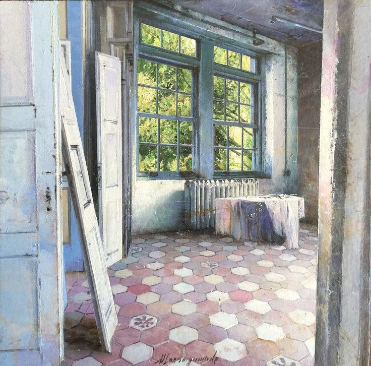 Matteo Massagrande, Interno, 2015, tecnica mista su tavola, 20 x 20 cm #contemporary #art #painting