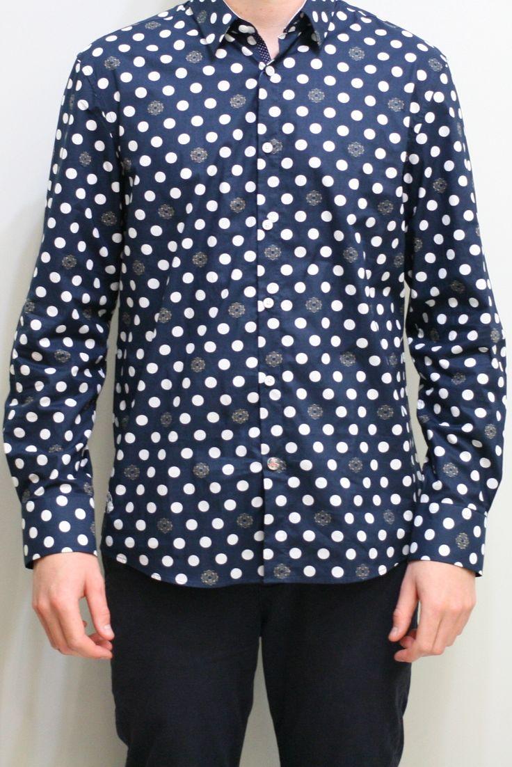 Polka Dot Shirt - Navy/White