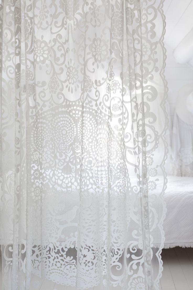 Lennol   BLACKBIRD Lace curtain, White