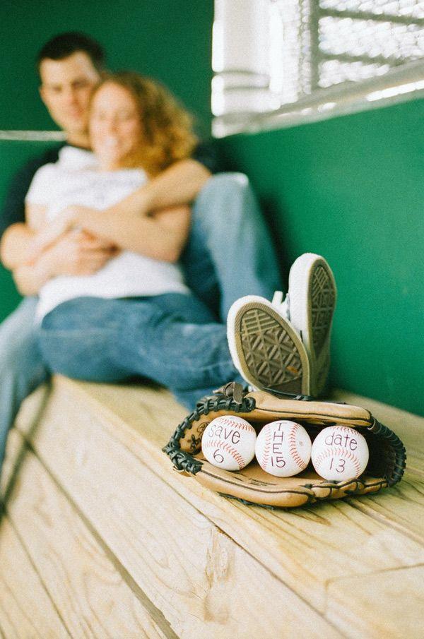 Baseball themed save the date. Stephanie Hunter. Keywords: #weddings #jevelweddingplanning Follow Us: www.jevelweddingplanning.com www.facebook.com/jevelweddingplanning/