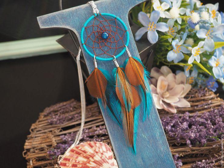 Кулон с перьями - Тихий океан, ловец снов, коричневый, бирюзовый - перья, перо, бохо