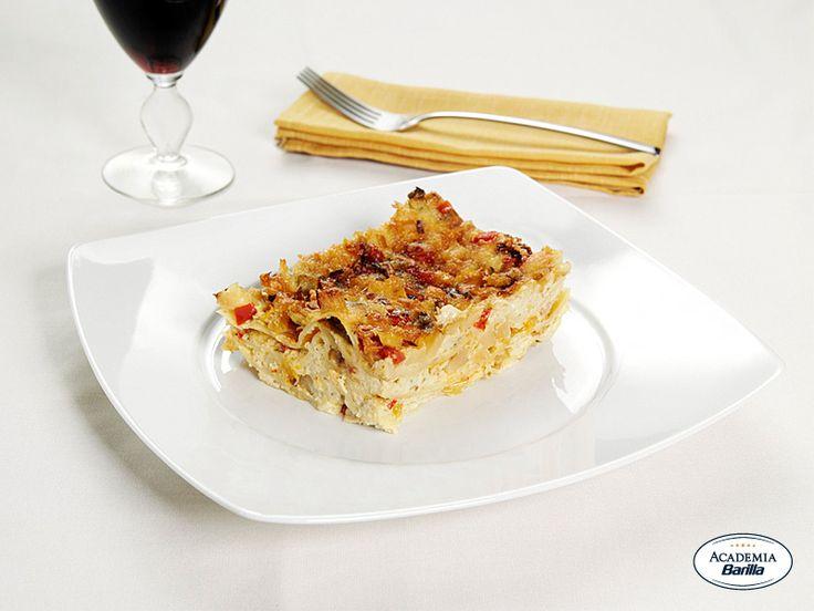 Lasagne con verdurine e pesto leggero
