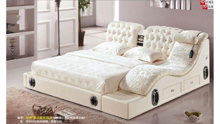 Cama matrimonial de cuero con dvd y masajeadores cod for Sillones cama modernos