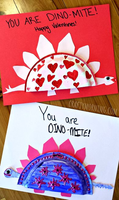 Mini Paper Plate Dinosaur Valentine Craft - Crafty Morning