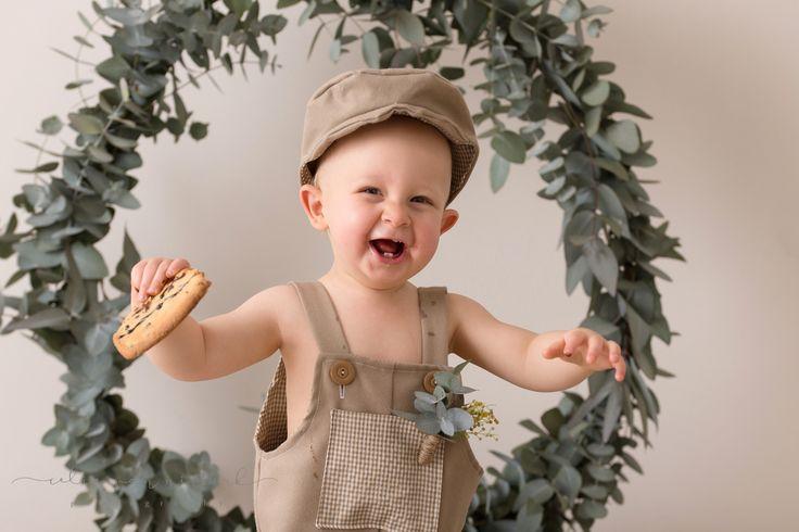 Baby Kian's 1st Birthday Session at Celia van Niekerk Photography's Studio in Nigel, East Rand. He had so much fun smashing the giant choc-chip cookies!