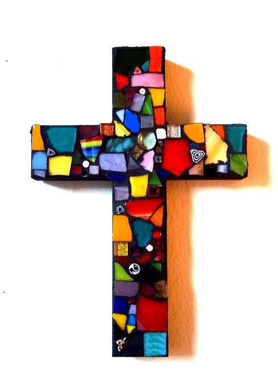 Mosaic Glass Cross // Stained Glass // Wall Art // Wall