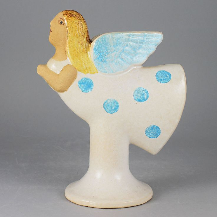 Lisa Larson (1990s) Fantastic Flying Angel Candleholder (White)