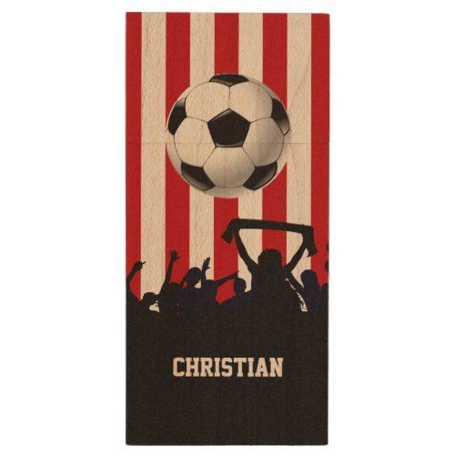 Red and White stripes Soccer Fans and football Wood Flash Drive