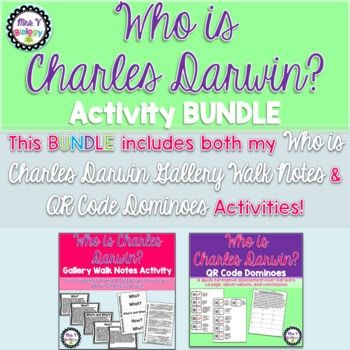 Who is Charles Darwin? History of Evolution Activity BUNDLE.  Get students UP and MOVING as they learn about the history of Evolution.  This Bundle includes BOTH a Gallery Walk Notes Activity and a QR Code Dominoes Activity over Charles Darwin!