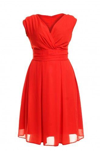 Sukienka z szyfonu kopertowy dekolt KM117-3PS  Czerwona na wesele