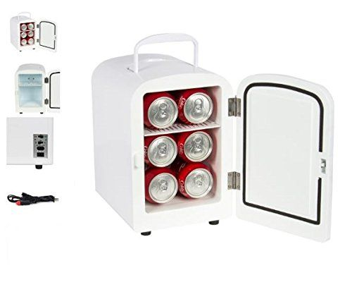 Quality Fridge  Portable Mini Fridge  Both Cooler and Warmer  Auto Car Boat Home Office AC  DC White Color  Compact Classic Travel 12v Refrigerator  Iceless Cold Beverage  Durable Convenient -- Click image for more details.