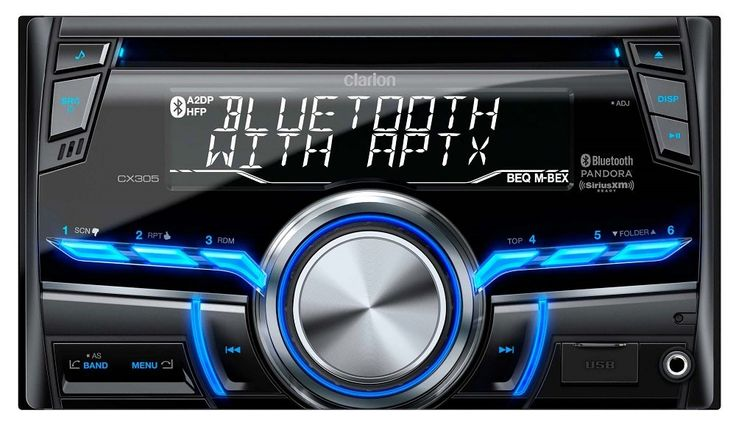 Clarion CX305 2-Din Bluetooth/CD/USB/MP3/WMA Receiver 13-Segment, 10-Digits X 2-Line Display Wireless Remote Control. 2-Din Bluetooth/CD/USB/MP3/WMA Receiver 13-Segment, 10-Digits X 2-Line Display Wireless Remote Control Included. Built-In Bluetooth with aptX for HFP/A2DP/PBAP/AVRCP Android Media Playback via USB Mass Storage Mode Pandora Internet Radio Control via iPod/iPhone and Android Smart Phone Connectivity. Built-In Microphone and External Microphone ready with OPTIONAL RCB204 or...