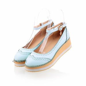 Women-Girl-Mid-Heel-Wedge-Platform-Shoes-Sandals-Ankle-Strap-Bowknot-Pumps-Z273
