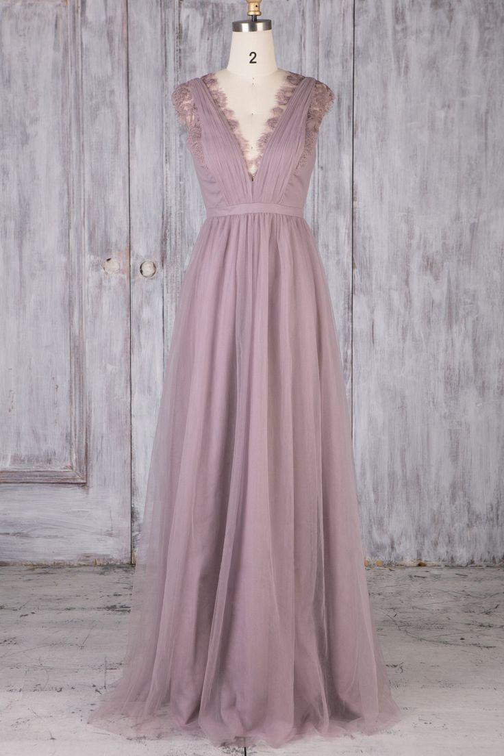 Chic Lace Scalloped Edge Neck Flügelärmel Lange geraffte Brautjungfernkleid - JoJoBride #Brautjungfer #Hochzeit #Brautjungfernkleid #Homedecor