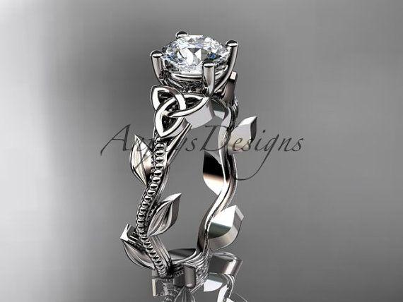 14kt white gold celtic trinity knot wedding ring by anjaysdesigns