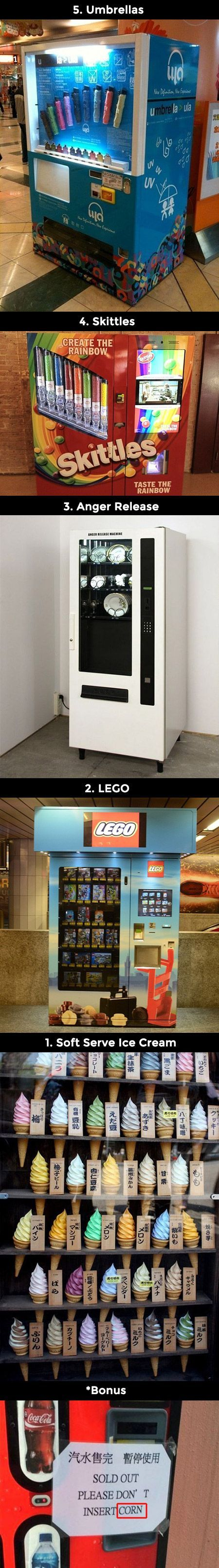We see them everyday, but here are five more unusual vending machines from around the world.