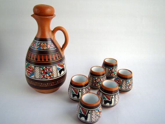 Carafe and Six Cups - Southwestern Tribal Native Latin American Mexican Llama - Ceramic Hand Painted - Coffee Tea Espresso Saki