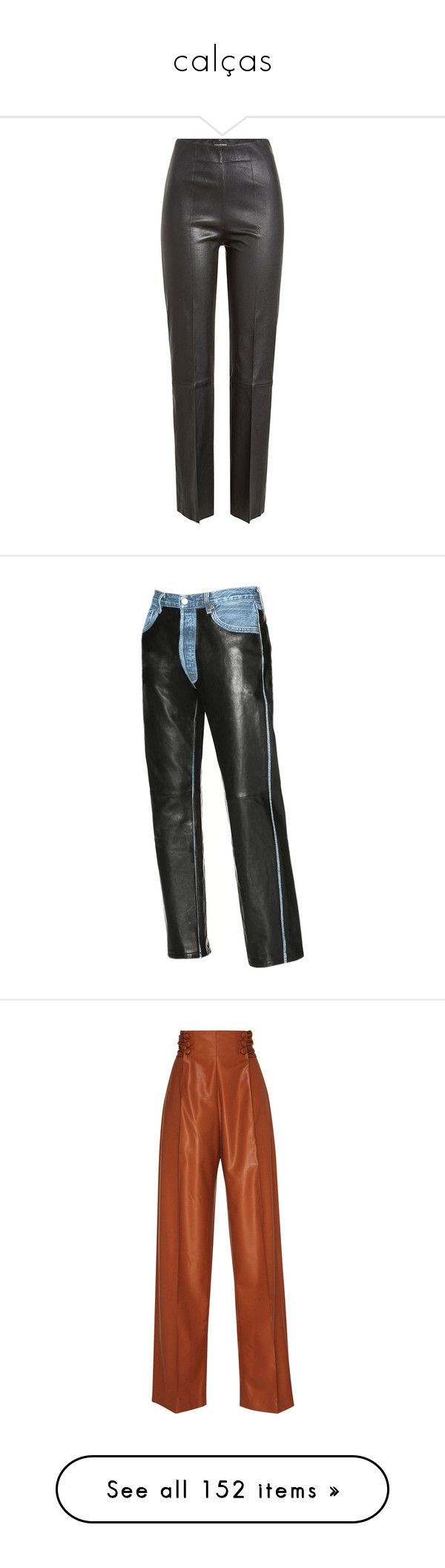 """""""calças"""" by badzbitch ❤ liked on Polyvore featuring pants, black, tailored pants, wet look pants, slim fit trousers, genuine leather pants, slim trousers, marco de vincenzo, trousers and high-waisted trousers"""
