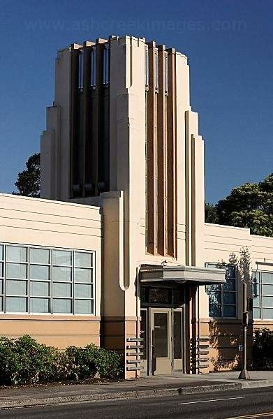 The tower and entry to the 1936 Art Deco/Streamline Moderne Arnerich Massena Building in Portland, Oregon.