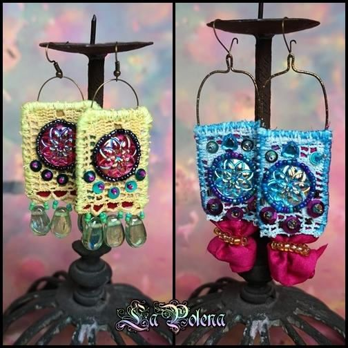 ZHANNA Gipsy hand dyed lace dangle earrings by La Polena