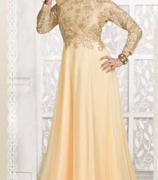Buy Beige embroidered net semi stitched salwar with dupatta party-wear-gown online