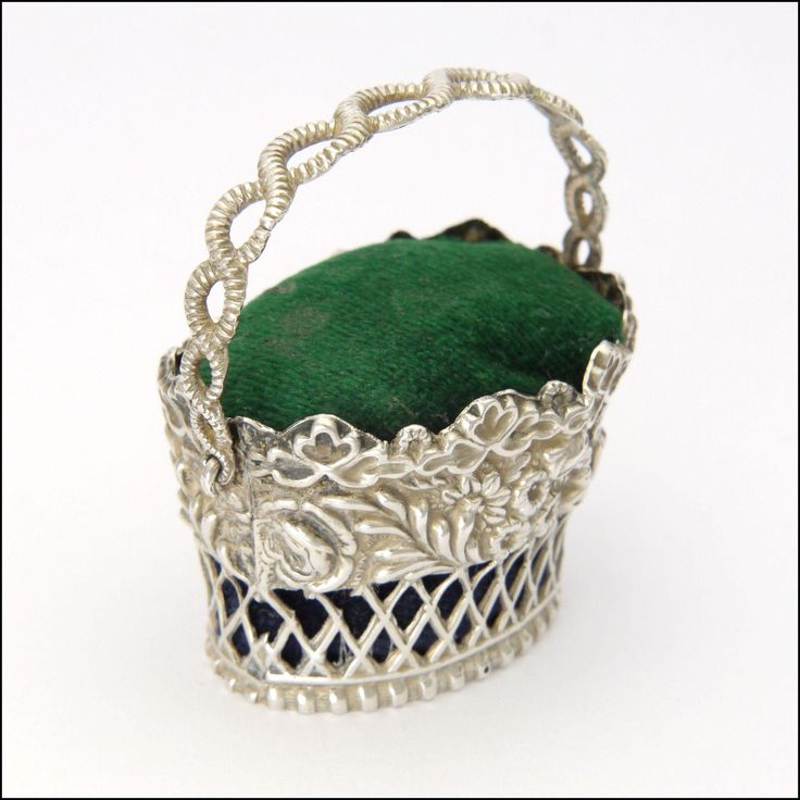 Early Victorian Sterling Silver Pin Cushion Basket