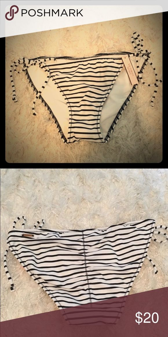 NWT Victoria's Secret striped bikini bottom Small Brand new Victoria's Secret striped black and white bikini bottoms in size small ,tie adjustable sides and gathered Brazilian rear Victoria's Secret Swim Bikinis