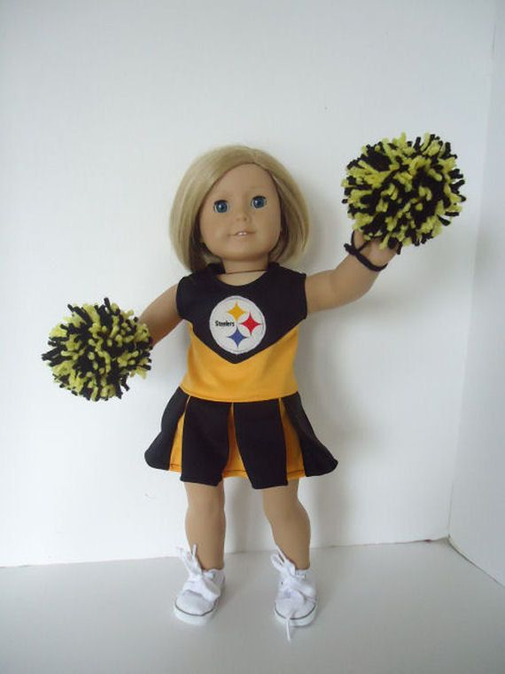 Pittsburgh Steelers Cheerleader for American Girl Doll, Made in the USA - omg I wanna dig mine out and dress her like this...