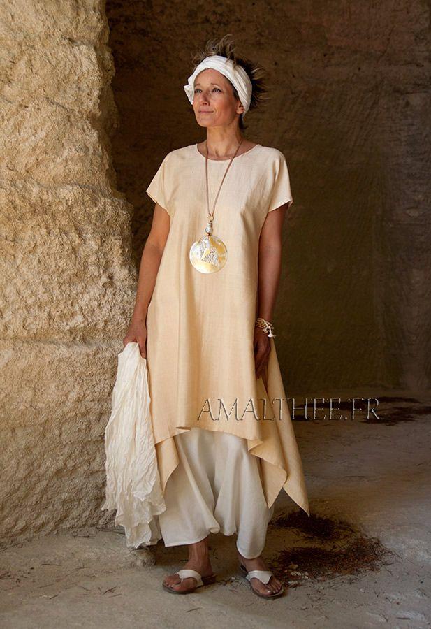 Loose fit shantung silk tunic. -:- AMALTHEE -:- n° 3377