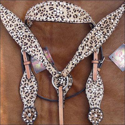 Hilason Western Cheetah Hair on Leather Horse Bridle Headstall Breast Collar S45 | eBay