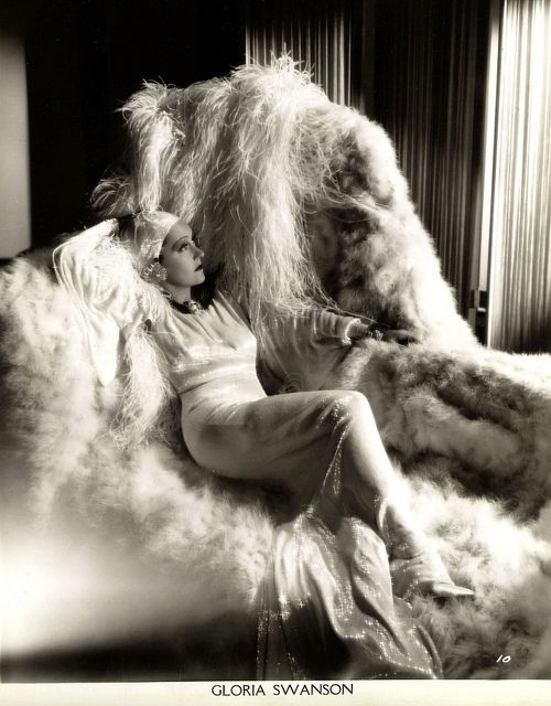 Fur, lame, satin,  maribou - when Gloria Swanson hit the couch it was a very tactile experience.