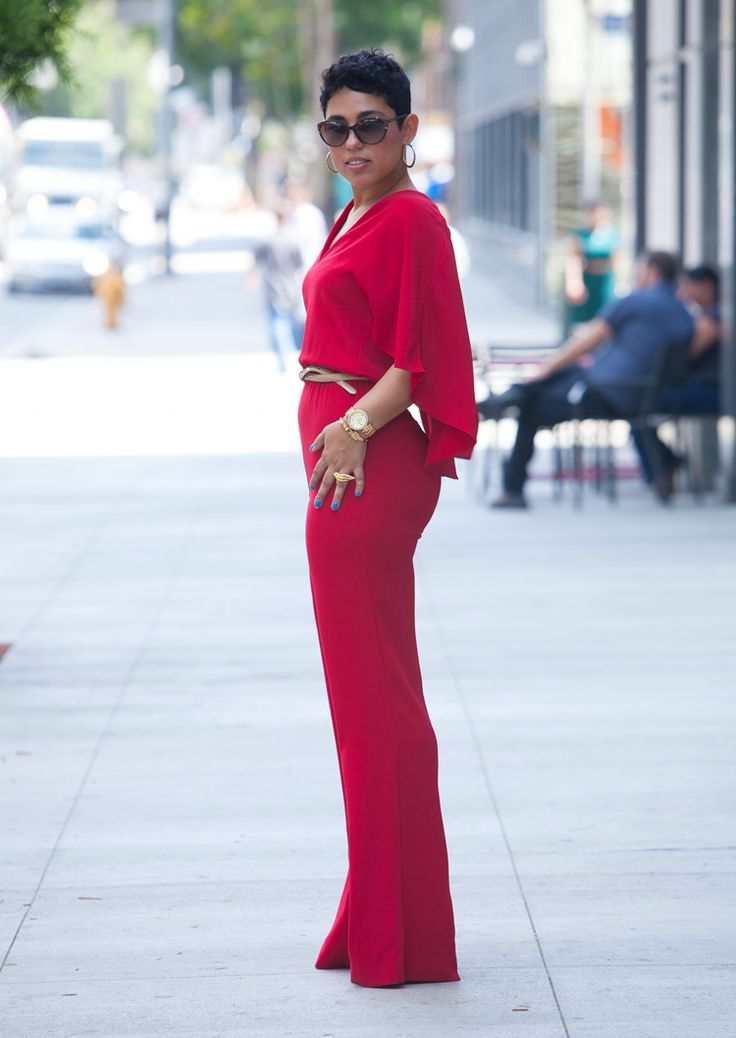 Red Cape Jumpsuit With V-Neck - Mimi G Style
