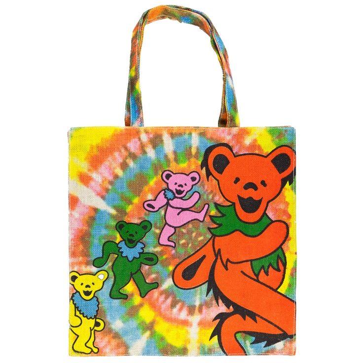 Grateful Dead - Rainbow Spiral Bears Jute Tote Bag