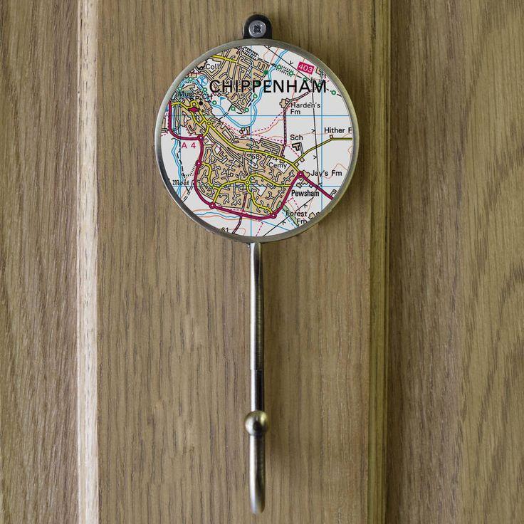 Personalised Postcode Map Wall Coat Hooks