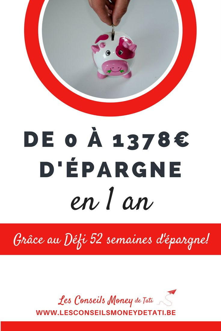 52 Money Challenge - Défi 52 semaines d'épargne - www.lesconseilsmoneydetati.be