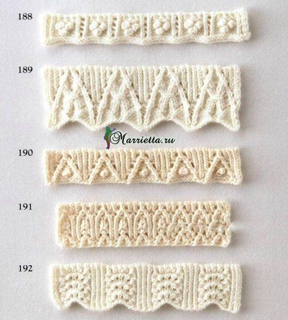 Фигурная резинка спицами. Схемы вязания